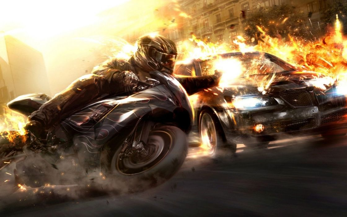 guns cars explosions fire weapons vehicles anime motorbikes wallpaper
