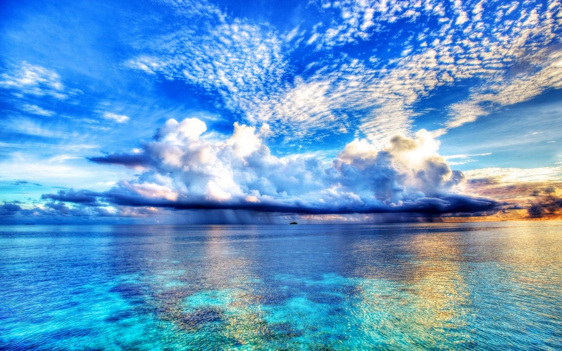 clouds landscapes blue skies sea natural scenery wallpaper