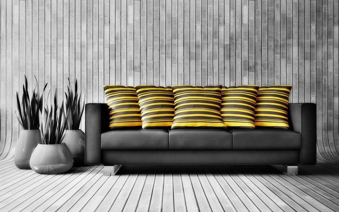 couch yellow pillows selective coloring wallpaper