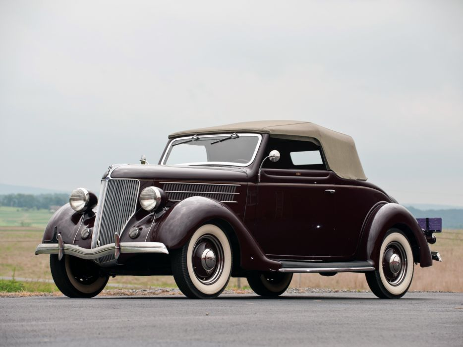 1936 Ford V8 Deluxe Convertible Coupe (68-730) retro v-8  fd wallpaper