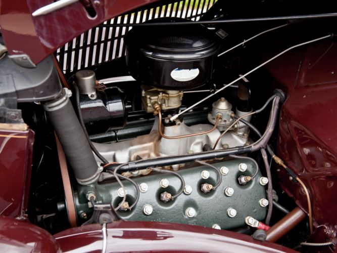 1936 Ford V8 Deluxe Convertible Coupe (68-730) retro v-8 engine f wallpaper