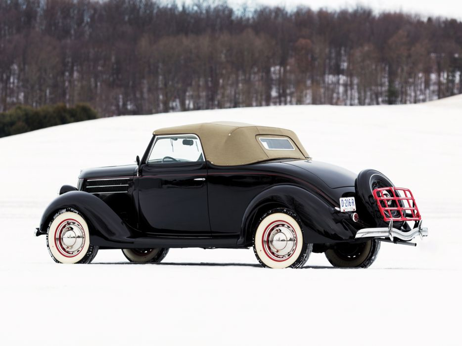 1936 Ford V8 Deluxe Convertible Coupe (68-730) retro v-8  f wallpaper