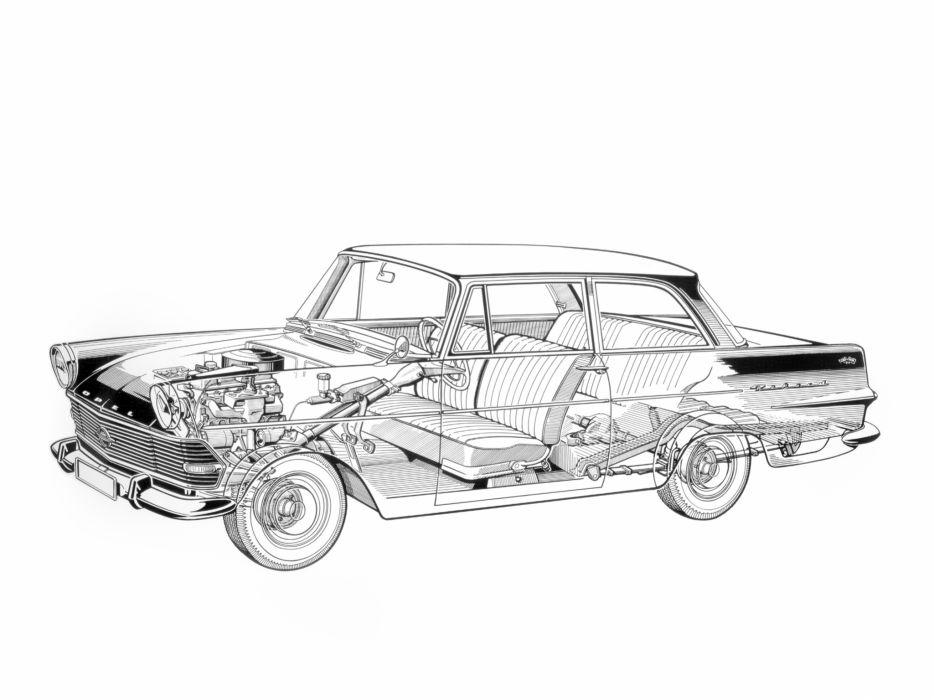 1960-63 Opel Rekord 2-door Sedan (P-2) classic interior engine       f wallpaper