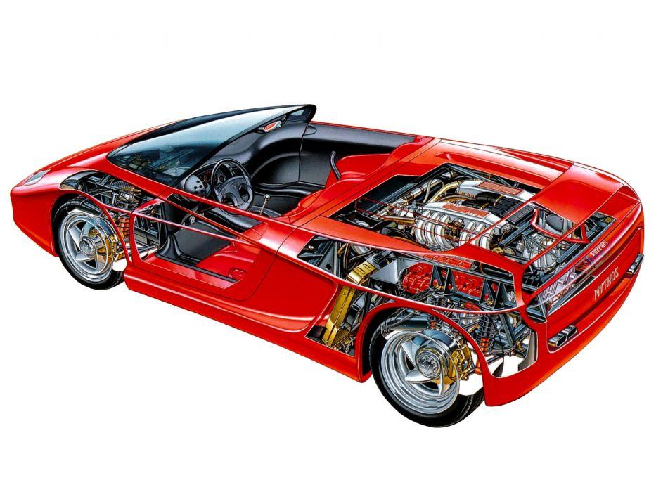 1989 Ferrari Mythos supercar interior engine        g wallpaper