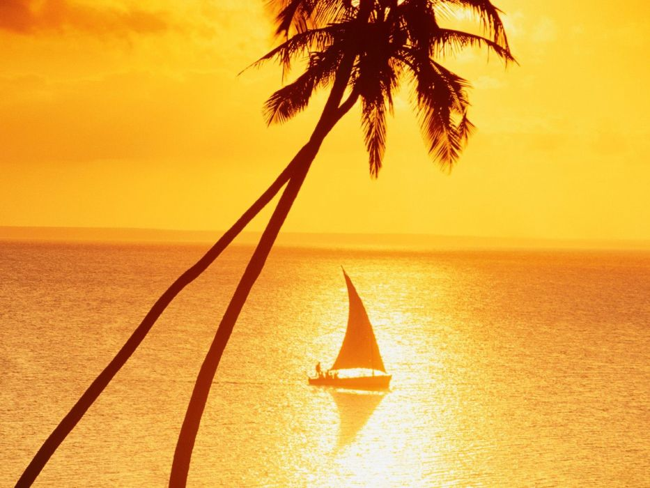 sunset paradise vehicles sailing sailboats wallpaper