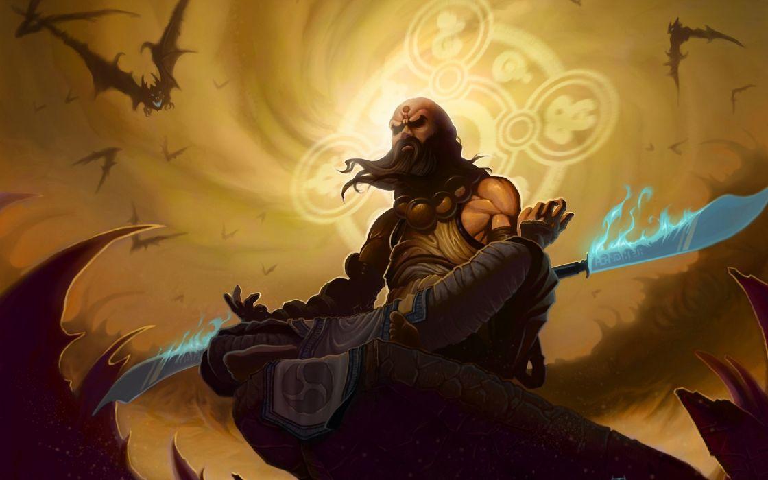 video games blade fantasy art artwork Diablo III monk meditation fan art shaolin wallpaper