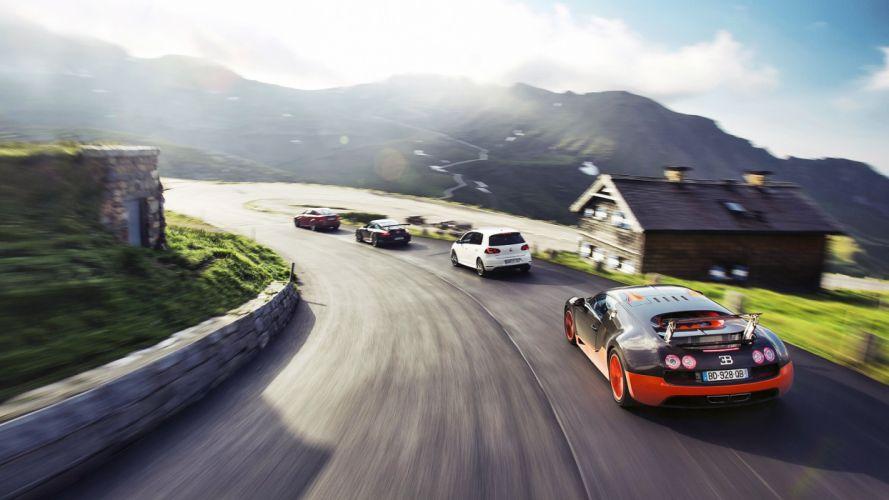 mountains BMW Porsche cars Top Gear Bugatti sunlight roads vehicles Volkswagen Volkswagen Golf Porsche 911 Carrera Bugatti Veyron Super Sport BMW 1M sun rays wallpaper