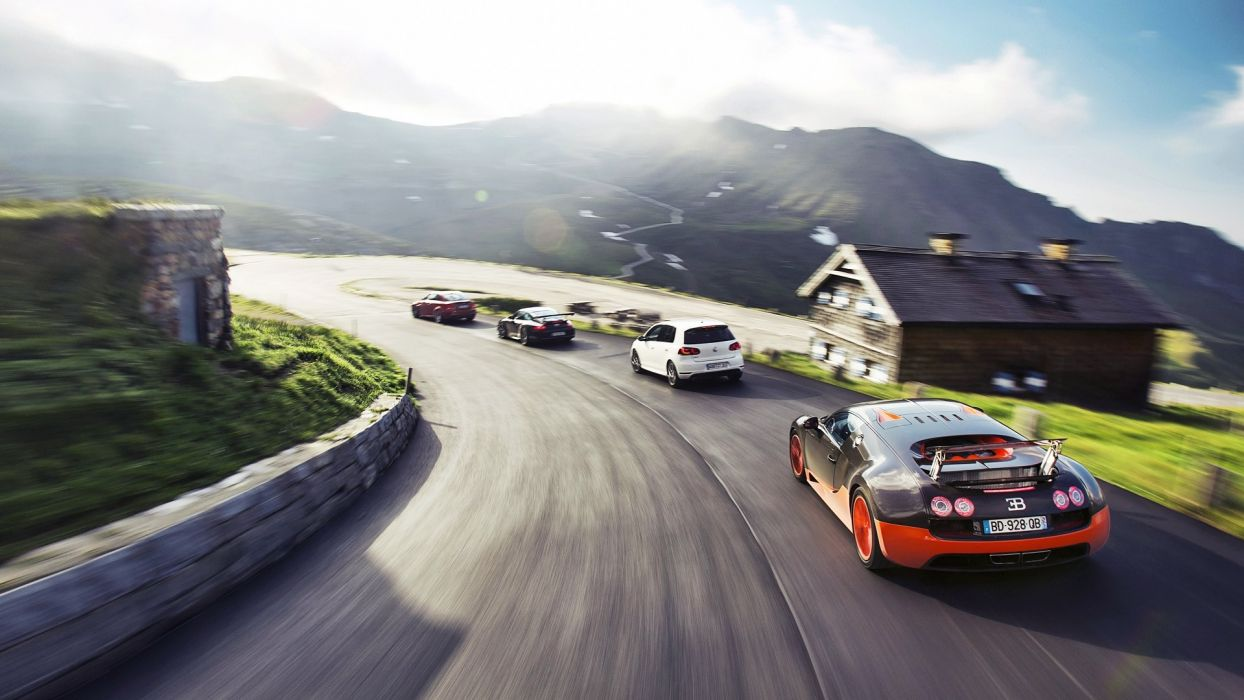 mountains BMW Porsche cars Top Gear Bugatti sunlight roads vehicles  Volkswagen Volkswagen Golf Porsche 911 Carrera Bugatti Veyron Super Sport BMW 1M sun rays wallpaper