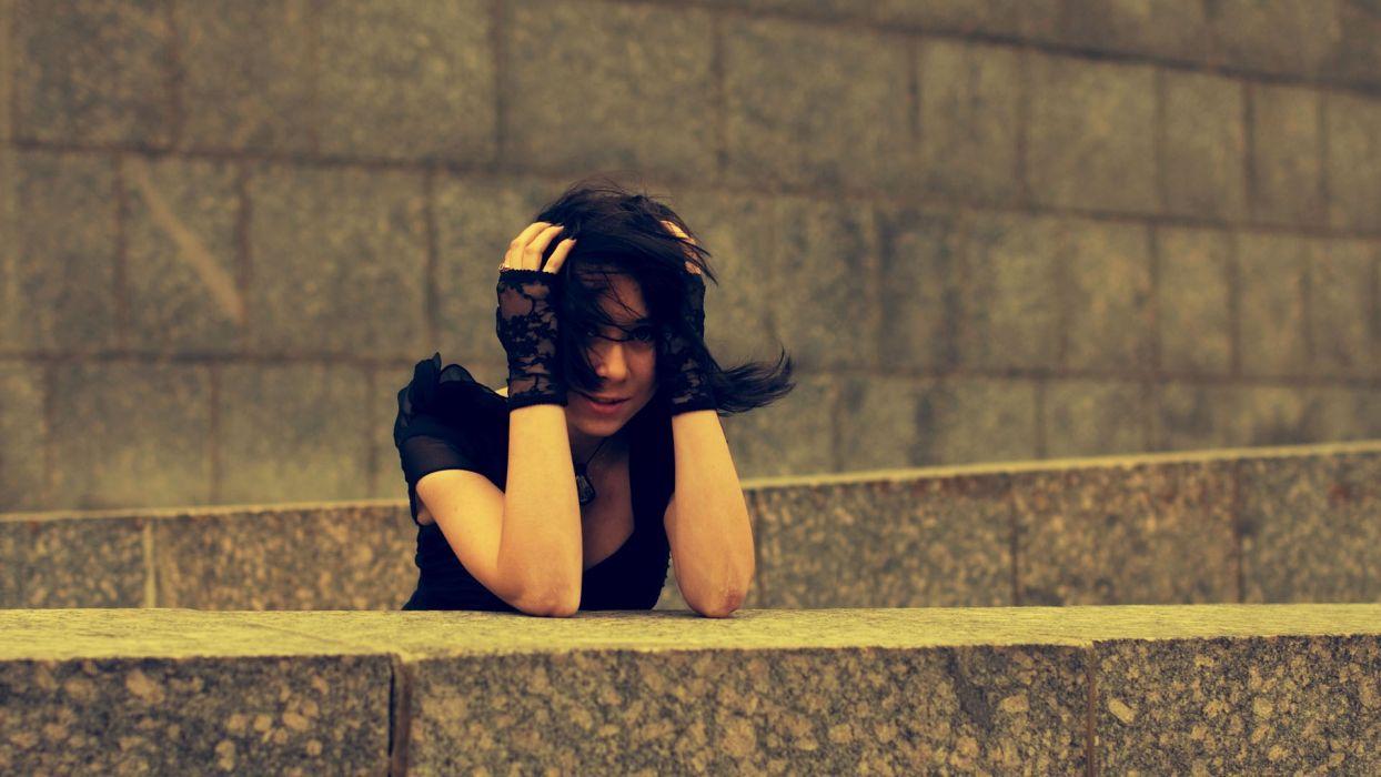 brunettes women black dress wallpaper