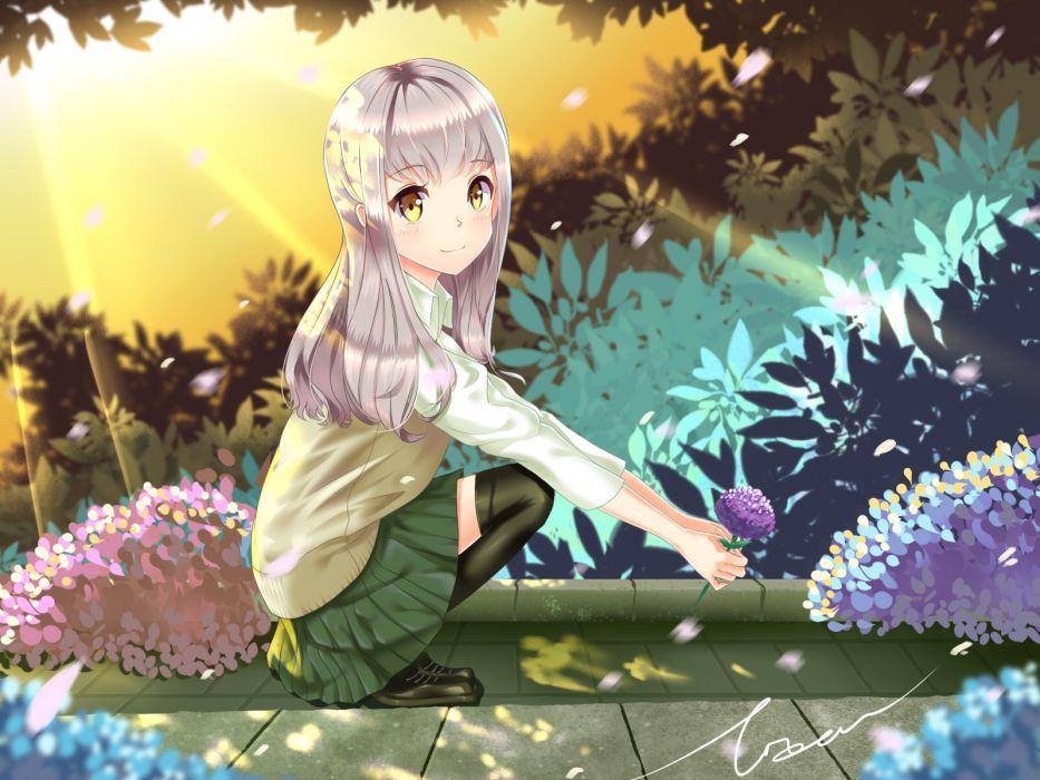 Flowers Skirts Thigh Highs Yellow Eyes Gray Hair Anime Girls