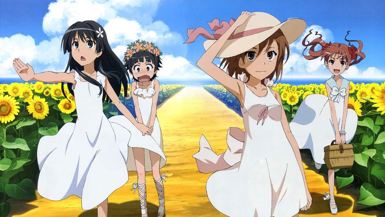 Misaka Mikoto Toaru Kagaku no Railgun Uiharu Kazari anime sunflowers Shirai Kuroko anime girls Saten Ruiko summer dress scans wallpaper