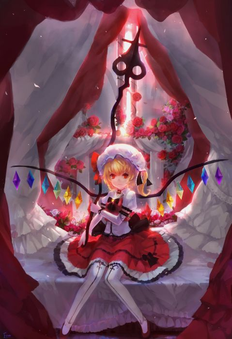 blondes Touhou wings dress flowers red eyes thigh highs Flandre Scarlet roses anime girls wallpaper