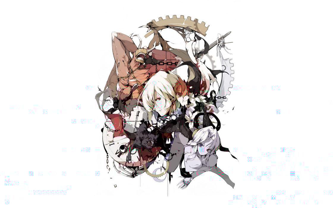 clocks Pixiv creatures anime boys claws simple background anime girls Manabi faces bats wallpaper