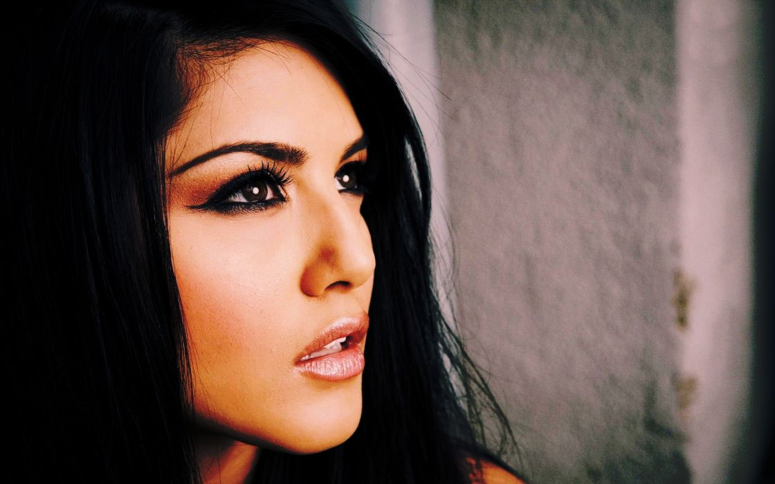 brunettes women dark white pornstars Sunny Leone dark eyes faces wallpaper