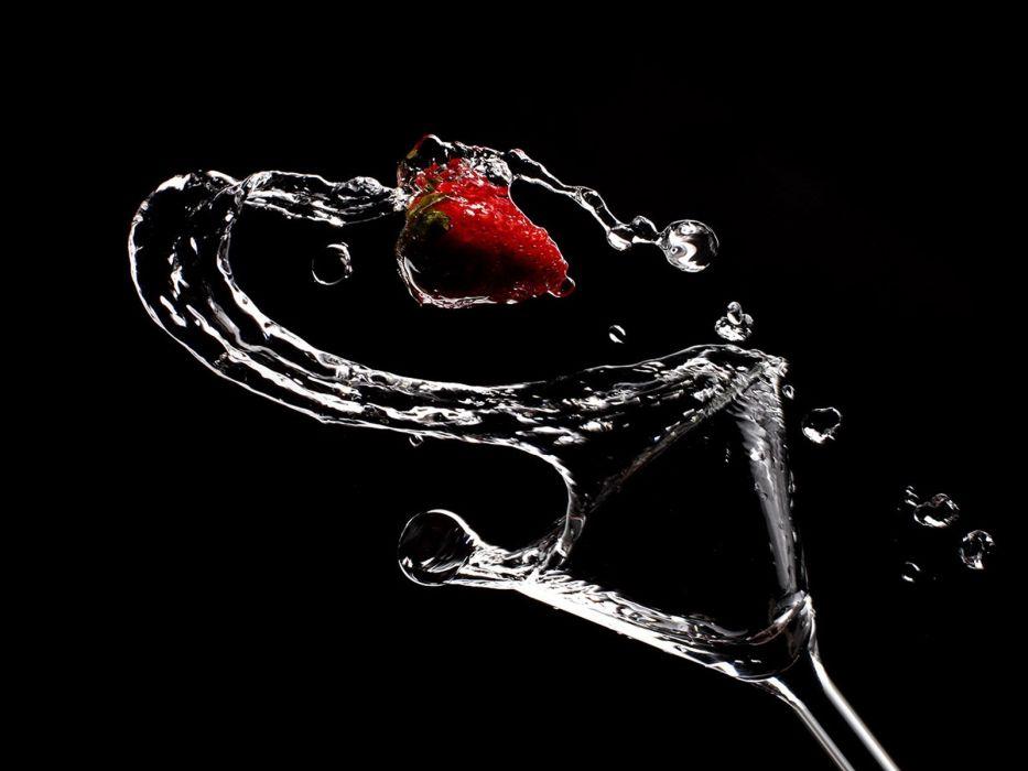 glass artwork strawberries drinks liquor wallpaper