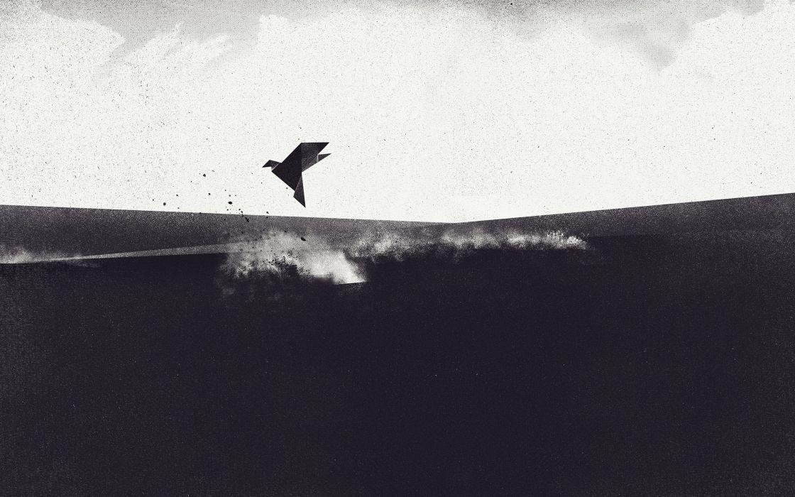abstract birds retro grayscale artwork Dan Matutina wallpaper