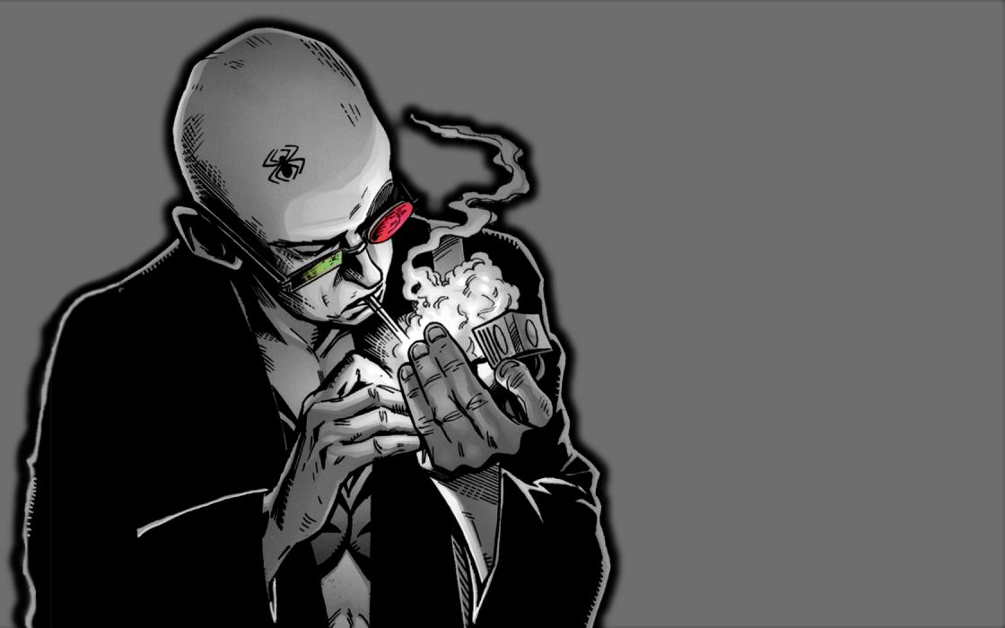 comics men Transmetropolitan Spider Jerusalem artwork cigarettes gray background wallpaper