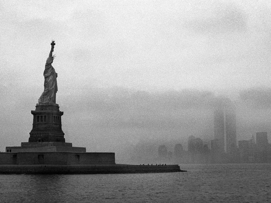 cityscapes architecture buildings New York City Statue of Liberty grayscale wallpaper