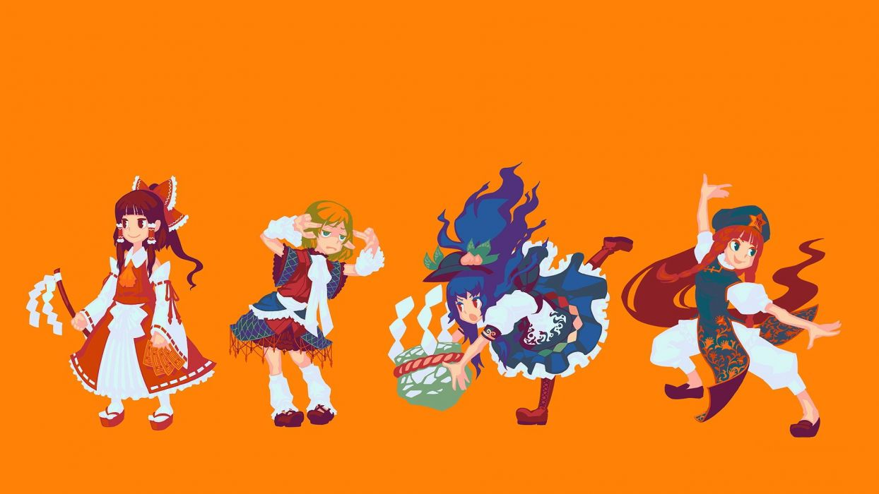 brunettes boots blondes pants video games Touhou dress fruits leaves redheads peaches stones long hair socks blue hair green eyes Miko red eyes short hair Hakurei Reimu bows red dress open mouth sandals ponytails braids aprons scarfs Hinanawi Tenshi blue  wallpaper