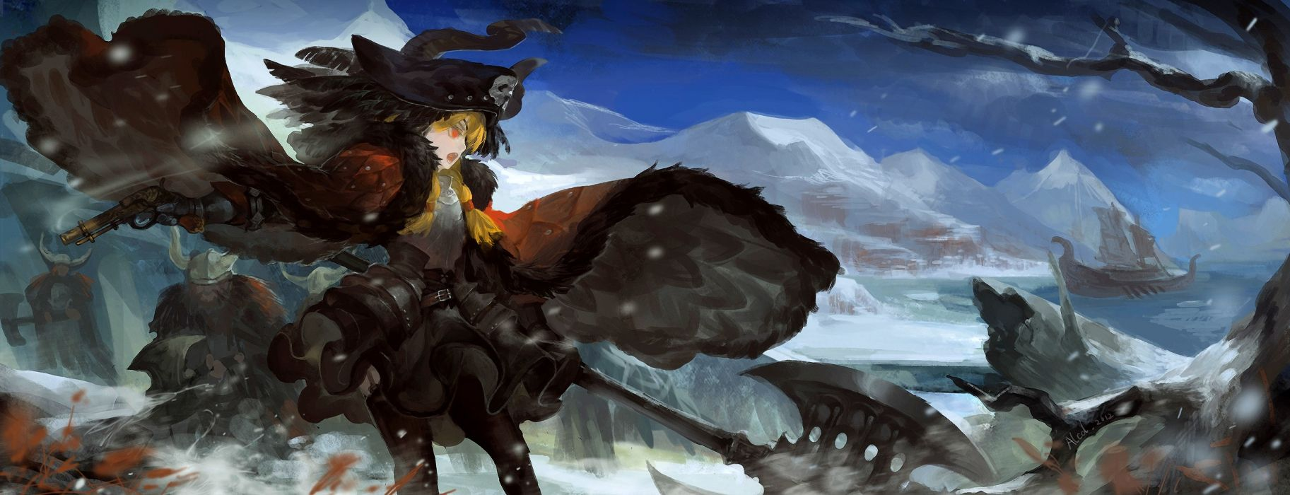 mountains snow guns smoke long hair weapons red eyes axes open mouth drawings anime girls Pixiv Fantasia wallpaper