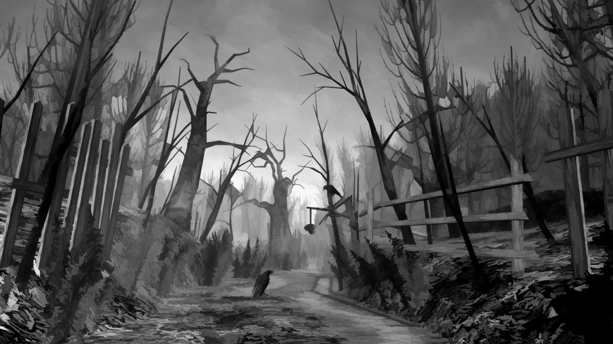 video games trees dark crows wallpaper