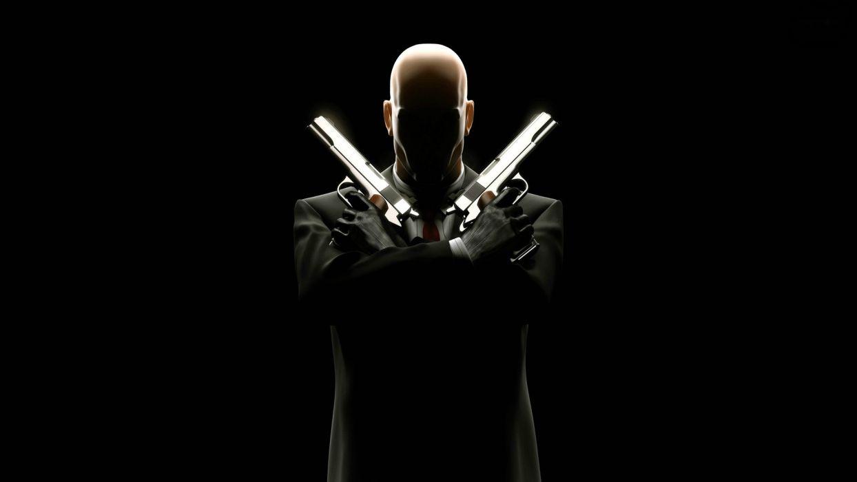Wallpaper Gun Video Games Black Background Resident: Video Games Pistols Guns Assassins Hitman Hitman
