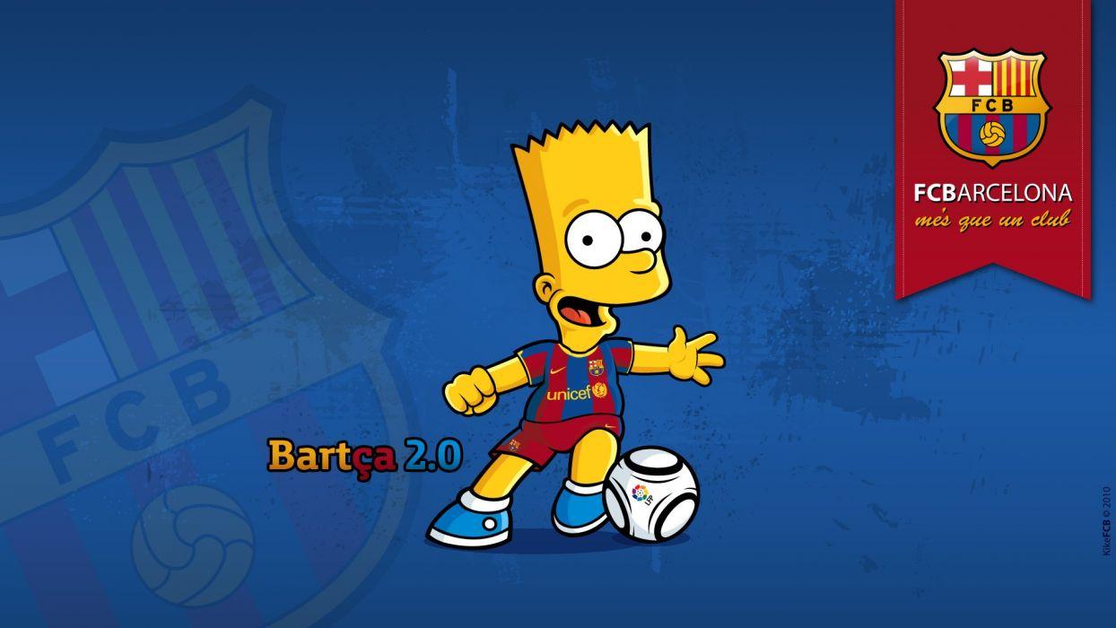 cartoons blue sports soccer The Simpsons Bart Simpson FC Barcelona blaugrana wallpaper
