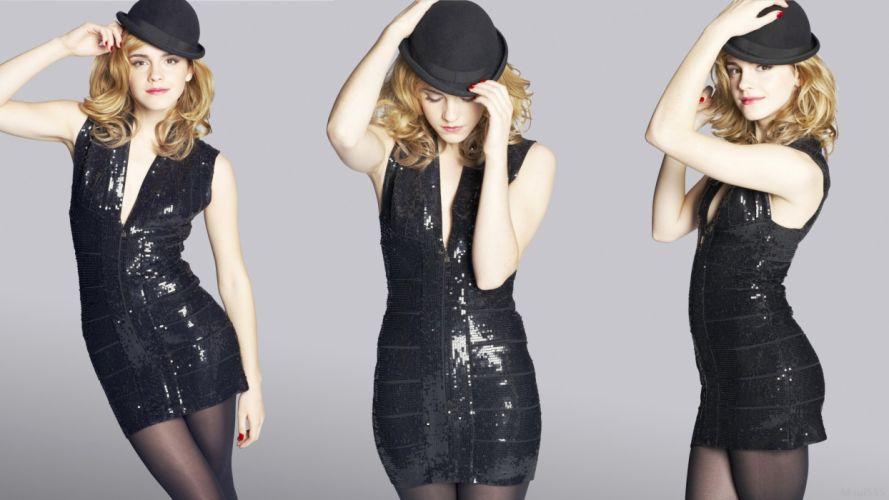 blondes women Emma Watson actress celebrity brown eyes black dress wallpaper