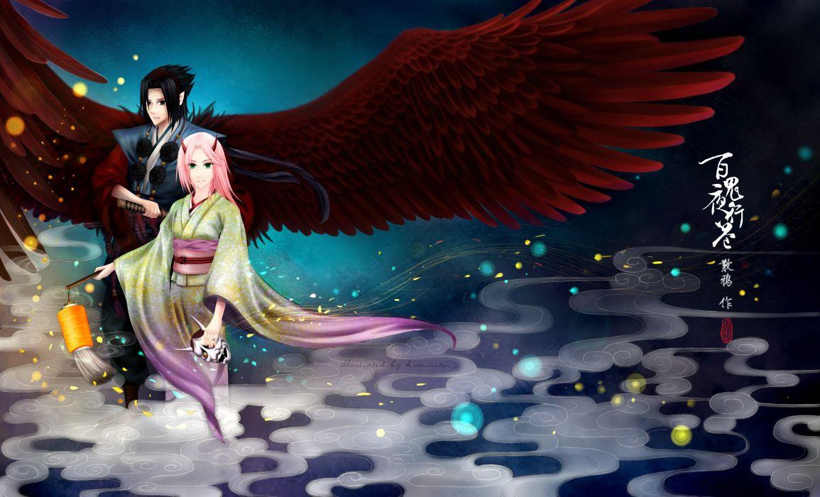 wings Haruno Sakura Uchiha Sasuke Naruto: Shippuden kimono artwork traditional dressing fan art wallpaper