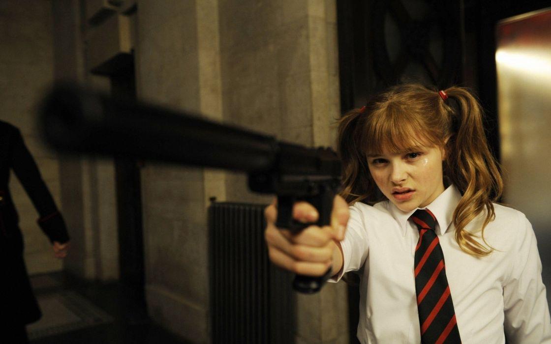 blondes women guns actress school uniforms schoolgirls tie Kick-Ass Chloe Moretz Hit Girl wallpaper
