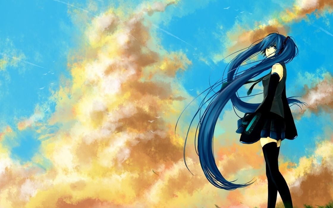 clouds Vocaloid stockings Hatsune Miku blue eyes skirts blue hair skyscapes anime girls detached sleeves bare shoulders wallpaper