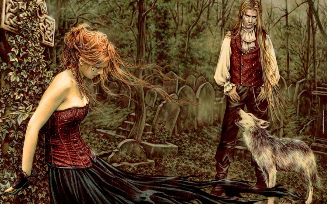 women trees dark forests men fantasy art artwork cemetery wallpaper