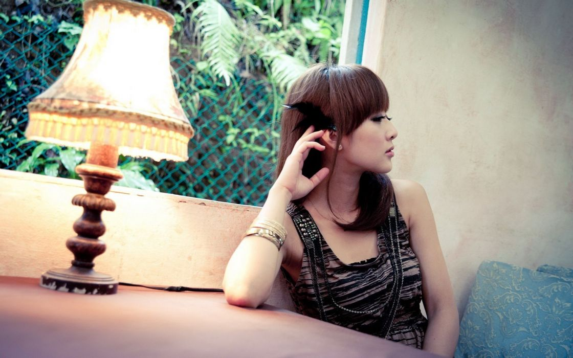 brunettes women dress lamps Asians Mikako Zhang Kaijie wallpaper