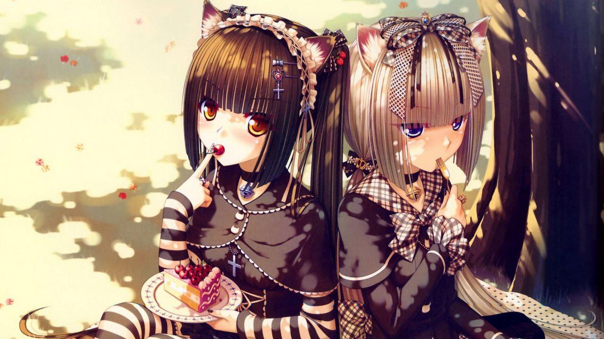 nekomimi Gothic animal ears anime gothic dress Sayori Neko Works anime girls striped clothing cakes Chocolat (Sayori) Vanilla (Sayori) striped legwear wallpaper