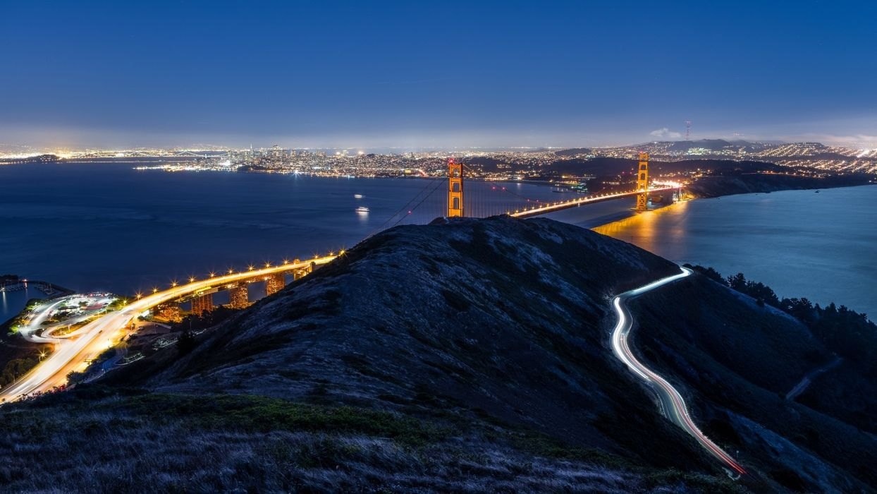 night lights USA Golden Gate Bridge California San Francisco rivers wallpaper