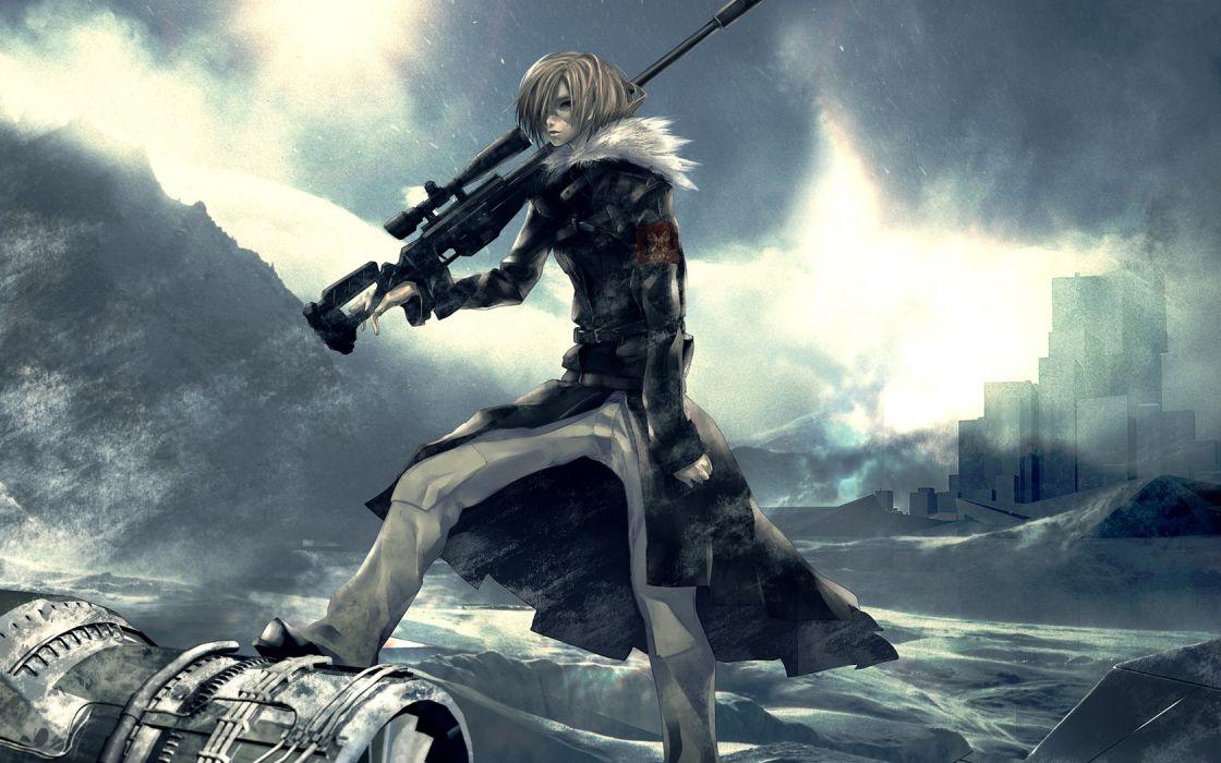 blondes winter snow guns Pixiv sniper rifles anime anime boys Redjuice wallpaper
