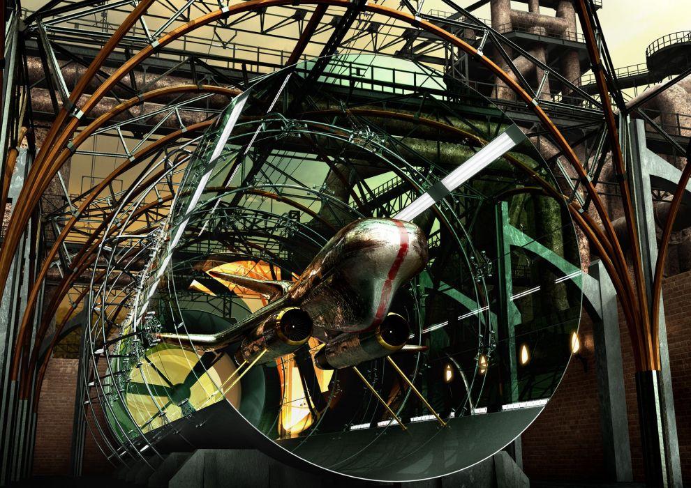 futuristic CGI vehicles anime airship 3D renders 3D art wallpaper