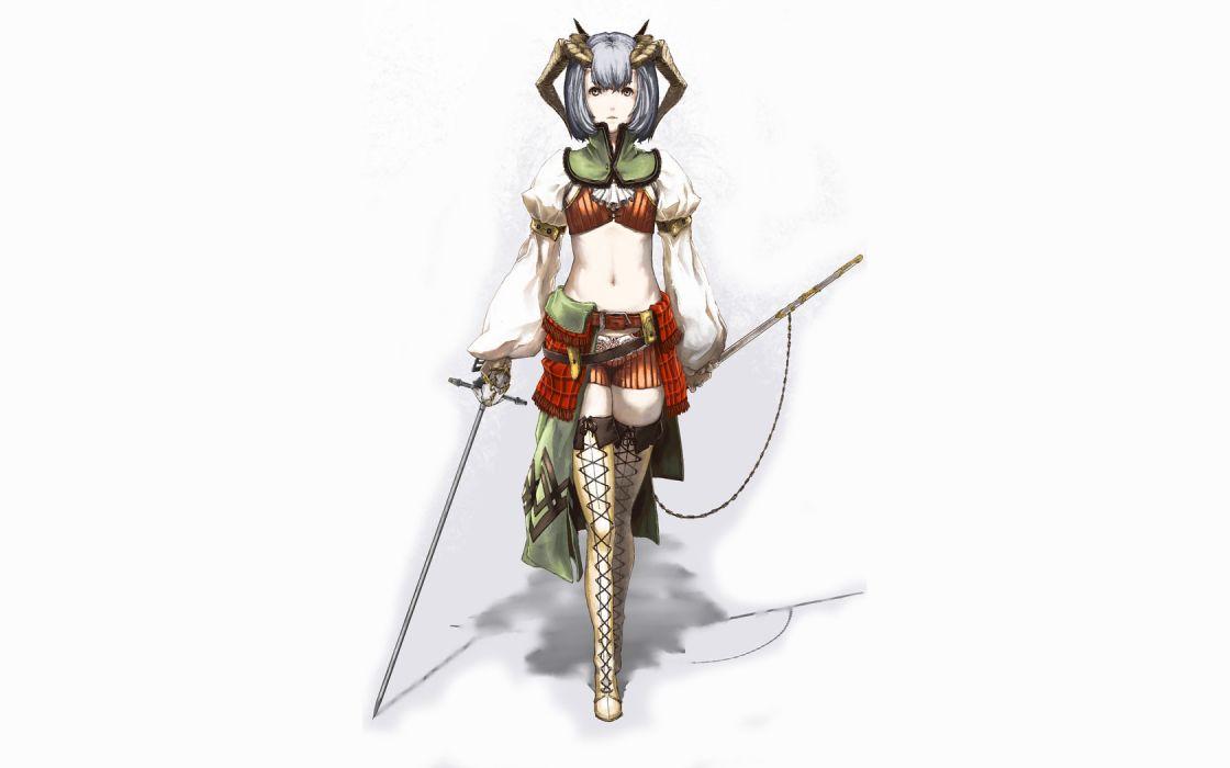 horns blue hair Pixiv anime girls Scotti swords wallpaper