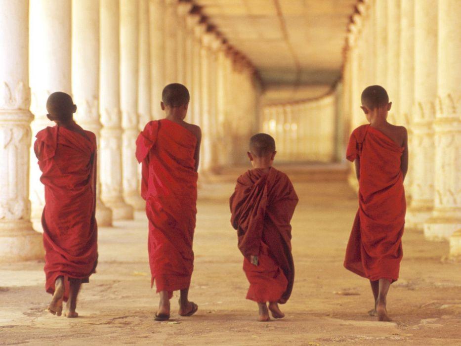 Religion Asians Boys Monks Buddhist Children Wallpaper