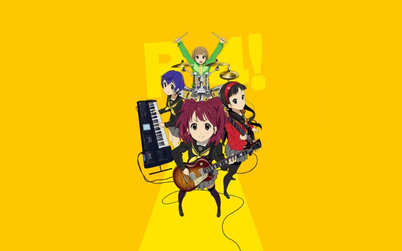 K-ON! Persona series parody Persona 4 simple background Satonaka Chie Shirogane Naoto Amagi Yukiko Kujikawa Rise wallpaper