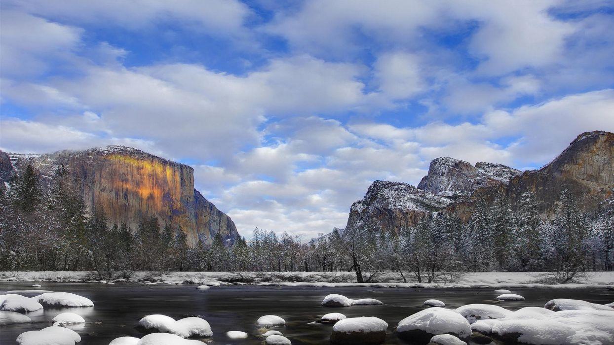 ice landscapes winter snow National Park Yosemite National Park wallpaper