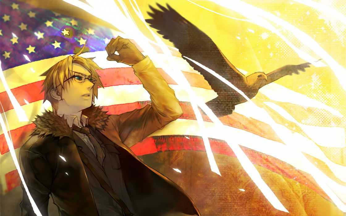 birds eagles flags USA anime American Flag Axis Powers Hetalia wallpaper