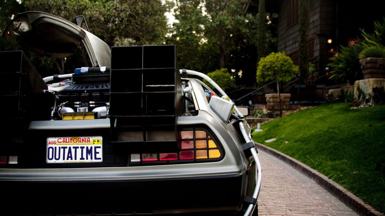 cars Back to the Future lawn DeLorean DMC-12 wallpaper