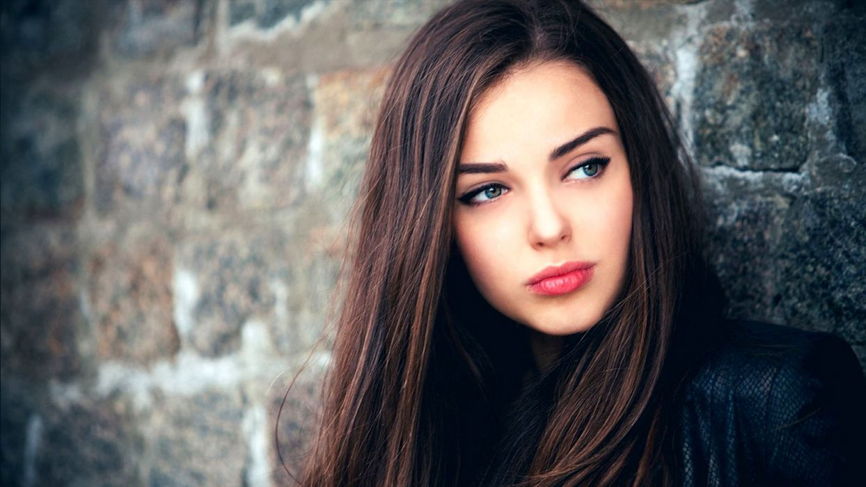 brunettes women stone wall faces edited stone texture wallpaper