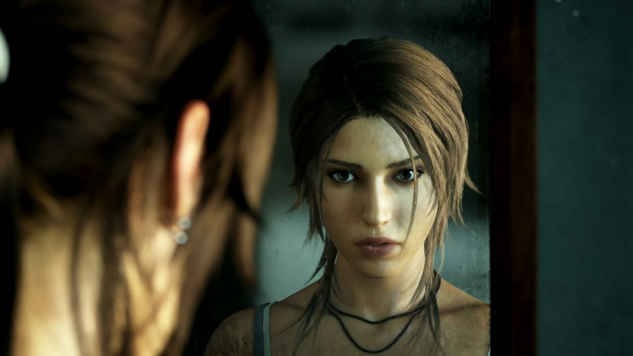 women mirrors Tomb Raider CGI Lara Croft wallpaper