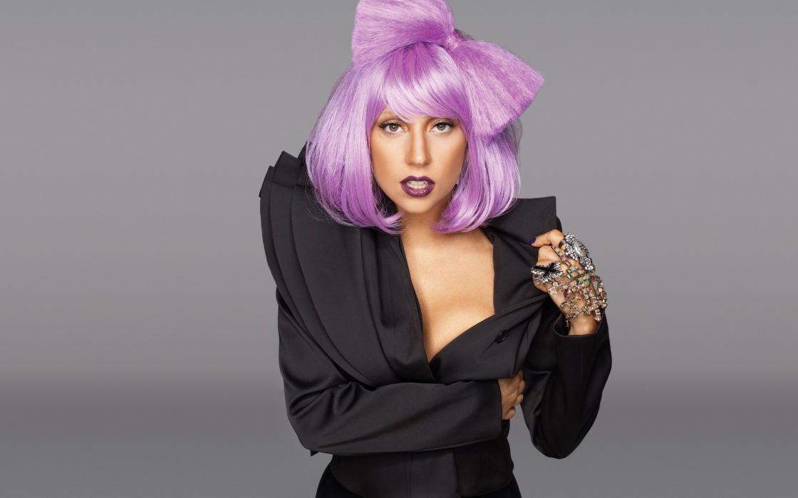 women Lady Gaga purple hair singers bangs wallpaper