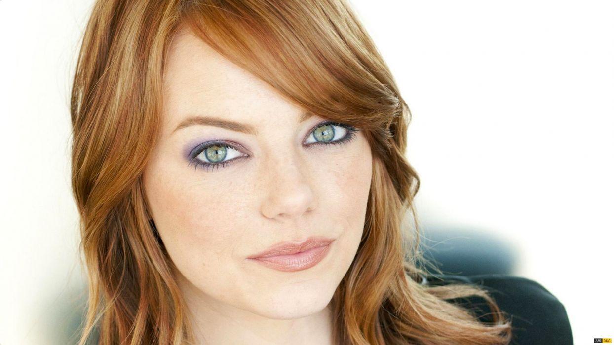 women actress redheads Emma Stone green eyes faces wallpaper