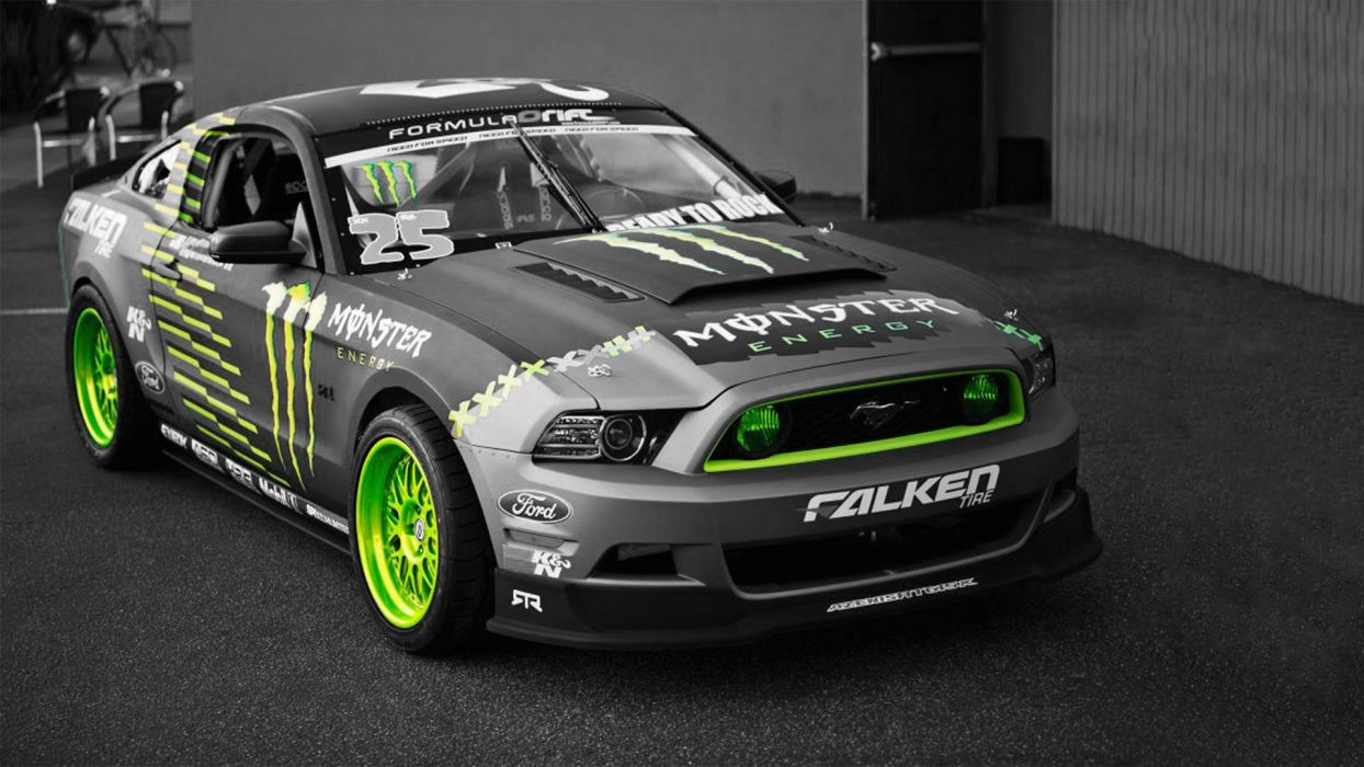 green cars Ford Mustang selective coloring Monster Energy sports cars wallpaper