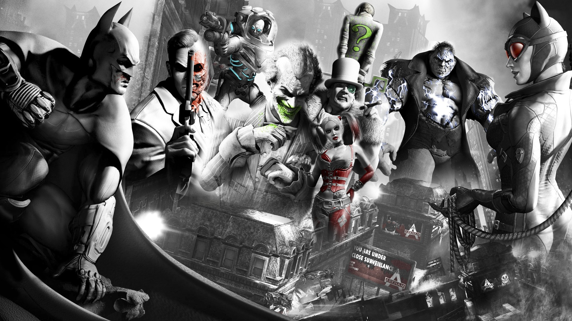 Batman Video Games The Joker Harley Quinn Catwoman Riddler Arkham Asylum Harvey Dent Wallpaper