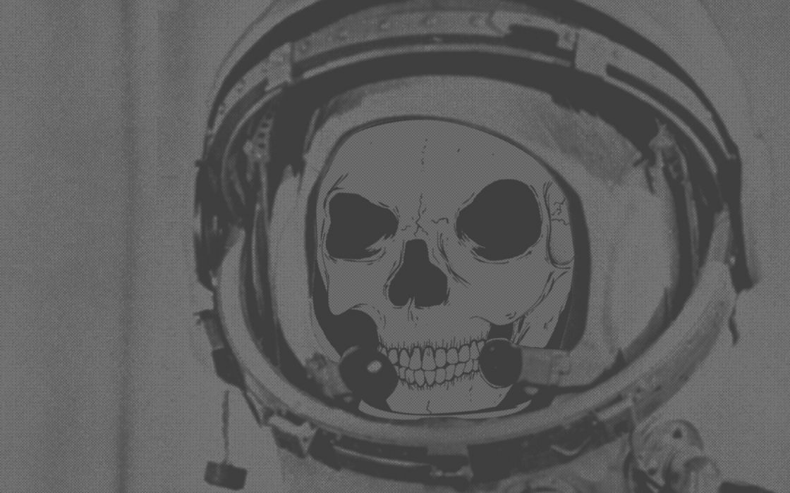 abstract skulls astronauts digital art monochrome artwork wallpaper